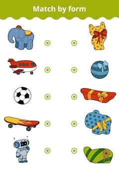 매칭 게임, 어린이를 위한 벡터 교육 게임. 소년의 장난감과 선물을 모양으로 연결