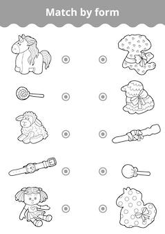 Соответствующая игра, векторная развивающая игра для детей. соединяем игрушки и подарки для девочек по форме