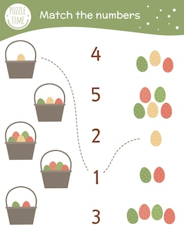 Matching game with baskets and colored eggs. easter math activity for preschool children.