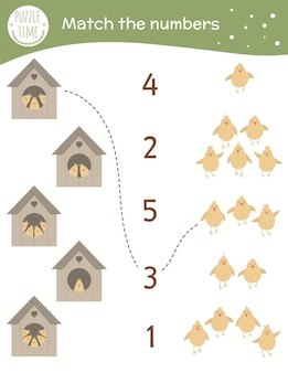 Matching game with starling-houses and cute chicks. easter math activity for preschool children.