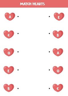 Подходящая игра с сердечками на день св. валентина. матч буквы на сердечках.