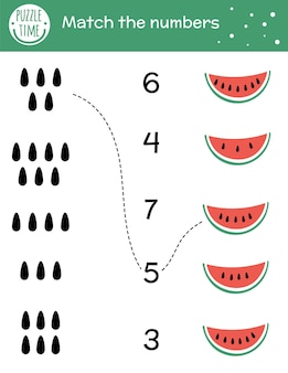 Соответствующая игра с ломтиком арбуза и семенами