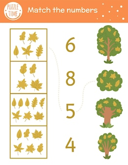 Matching game with yellow leaves and trees. autumn math activity for preschool children. fall season counting worksheet. educational printable with cute funny elements for kids