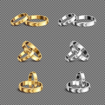 Matching gold platina his her wedding bands rings series 6 realistic sets transparent background isolated  illustration