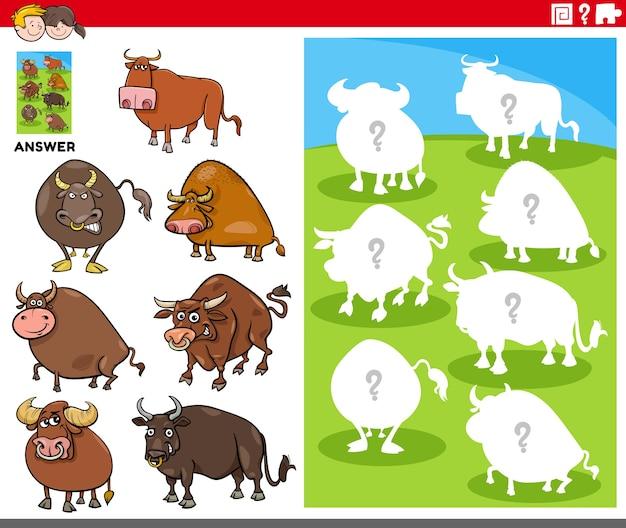 Игра соответствия форм с персонажами мультяшных быков