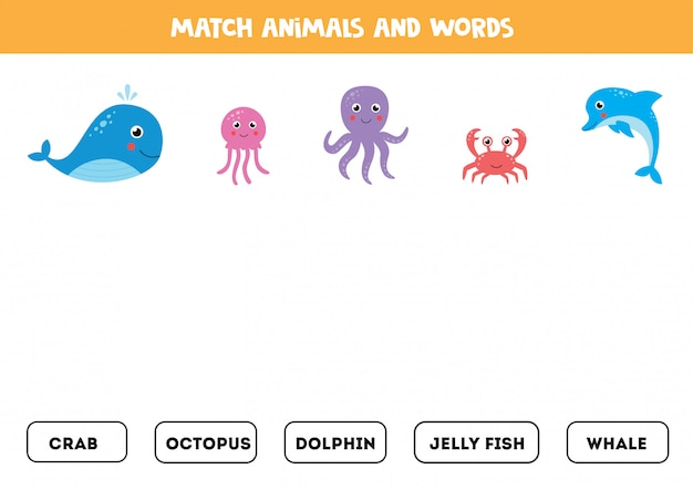 Matching words game for kids. cute cartoon sea animals.
