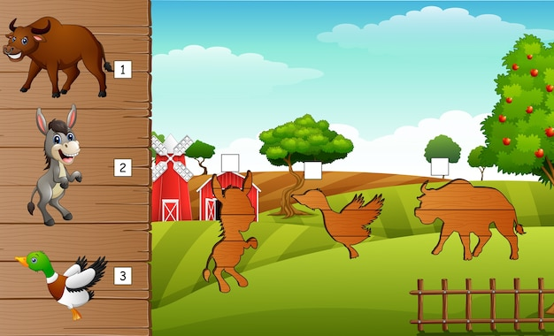 Matcing shadow of farm animal game
