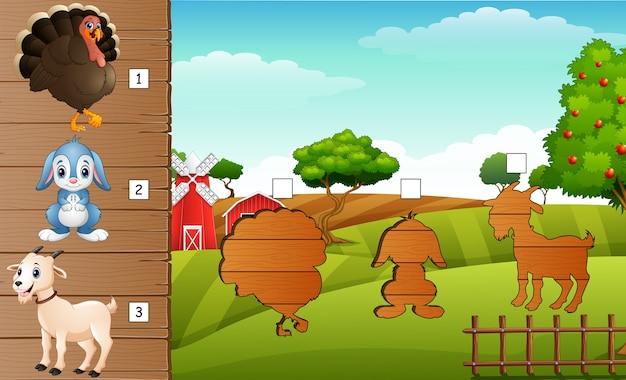 Matcing shadow of farm animal game