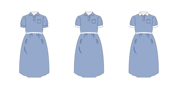 Maternity clothes template set, front view.