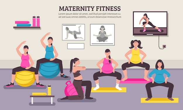Maternity fitness class flat poster