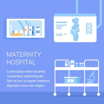 Maternity hospital square banner. medical cabinet