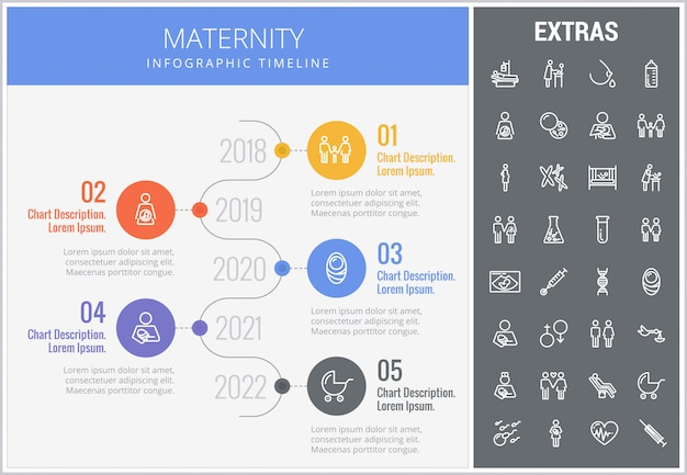 Maternity infographic template, elements and icons