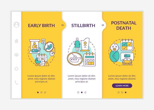 Maternity leave entitlement cases onboarding vector template. responsive mobile website with icons. web page walkthrough 3 step screens. baby death color concept with linear illustrations