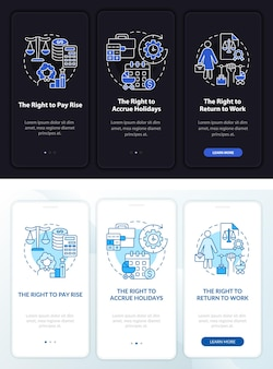Maternity leave rights dark, light onboarding mobileapp page screen. walkthrough 3 steps graphic instructions with concepts. ui, ux, gui vector template with linear night and day mode illustrations