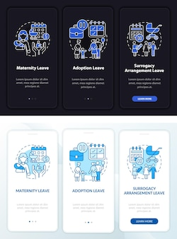 Maternity leave types dark, light onboarding mobileapp page screen. walkthrough 3 steps graphic instructions with concepts. ui, ux, gui vector template with linear night and day mode illustrations