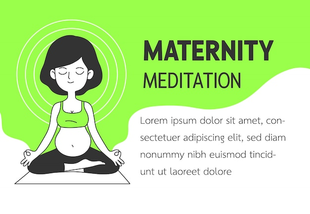 Maternity meditation simple and clean doodle vector illustration