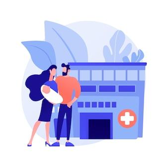 Векторная иллюстрация абстрактного понятия услуг по беременности и родам. услуги по охране материнства, перинатальное здравоохранение, квалифицированная поддержка беременности и родов, абстрактная метафора родов и послеродового периода.