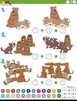 Math addition educational task with dog characters