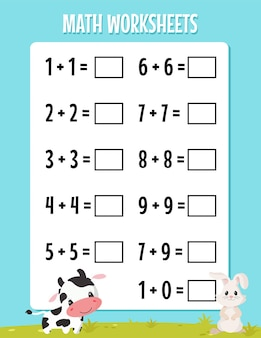 유치원 워크시트에 대한 수학 추가