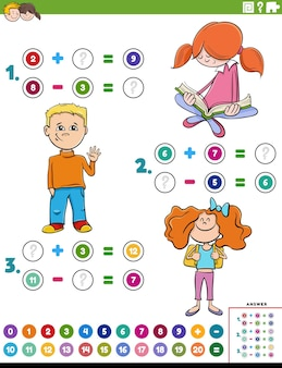 Math addition and subtraction educational task with kids