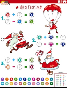 Math addition and subtraction educational task with santa