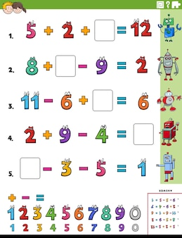 Math calculation educational task worksheet page for children