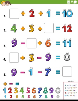 Math calculation educational worksheet page for children