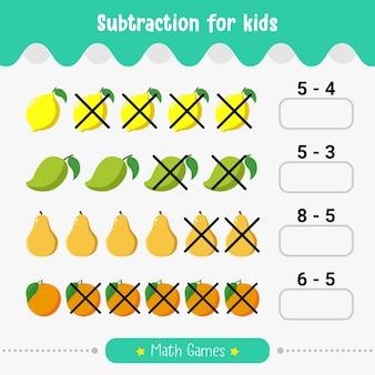 어린이 교육 워크시트를 위한 수학 어린이 게임 뺄셈