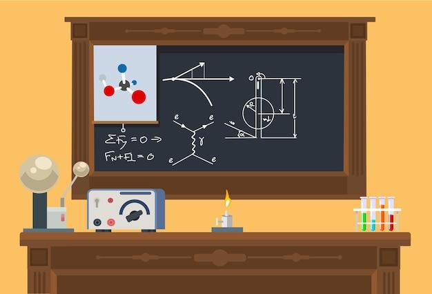 Класс математики. плоская иллюстрация