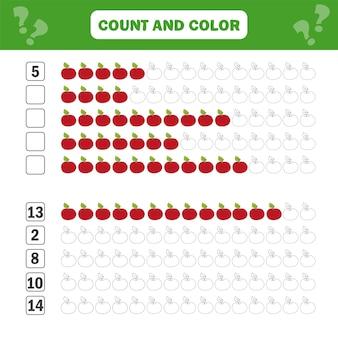 子供のための数学教育ゲーム。方程式を数える。追加ワークシート-カウントと色
