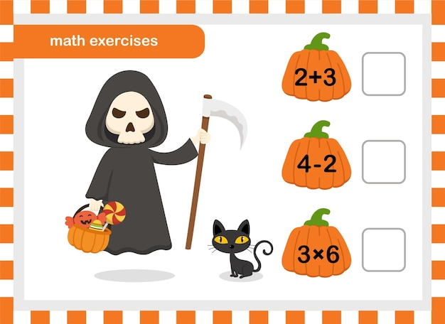Math exercises for children illustration