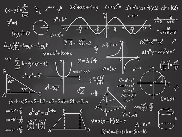 Math formula. mathematics calculus on school blackboard. algebra and geometry science chalk pattern vector education concept. scientific analysis, number calculation, complex knowledge