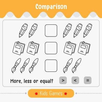 子供のための数の数学ゲームの比較は多かれ少なかれ等しい