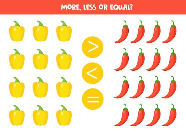 子供のための数学のゲーム。子供のための比較。黄色と赤唐辛子。