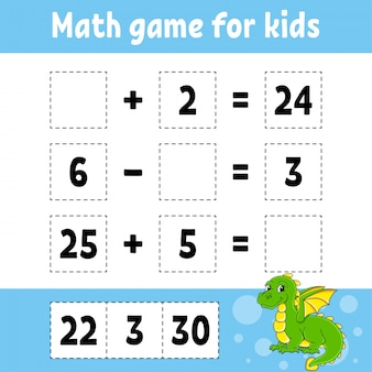 Математическая игра для детей. рабочий лист развития образования. страница активности с картинками.