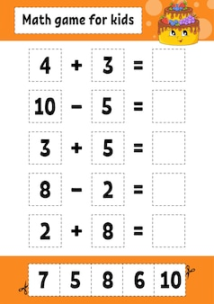 子供のための数学のゲーム。教育開発ワークシート。