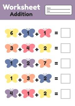 Математическая игра для детей дошкольного и школьного возраста. подсчитайте и вставьте правильные числа. дополнение. бабочки.