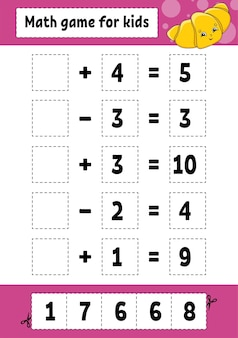 Math game for kids. education developing worksheet. activity page with pictures. game for children. cartoon style.