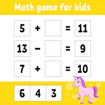 Math game for kids. education developing worksheet. activity page with pictures.