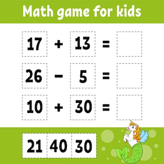 Math game for kids education developing worksheet activity page with pictures
