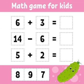 Math game for kids. education developing worksheet.