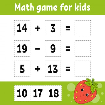 Math game for kids. education developing worksheet.