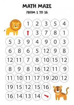 Math game with cute lion and tiger.