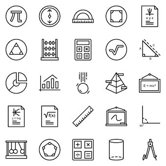 Math icon pack, with outline icon style