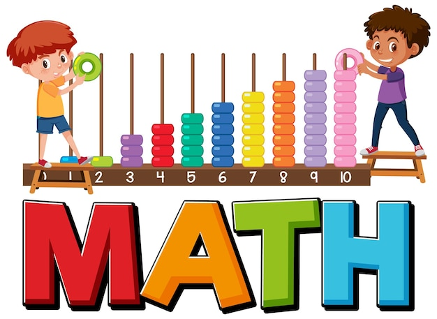 Math icon with kids and math tools