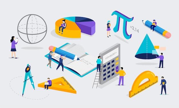 미니어처 사람들과 수학 실험실 및 학교 수업 과학 교육 수학 장면