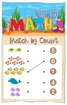 Math matching number worksheet