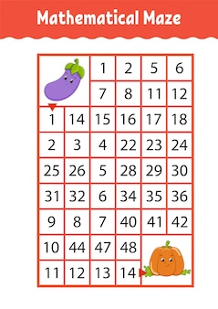Math maze. game for kids. funny labyrinth. education developing worksheet. activity page. puzzle for children.
