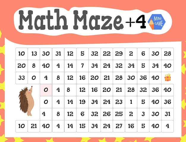 Math maze is a mini game for children. cartoon style. vector illustration.
