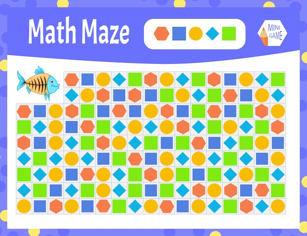 Math maze is a mini game for children. cartoon style.